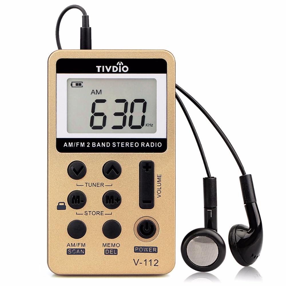 10X TIVDIO V-112 Pocket FM/AM Digital Tuning Radio Mini Receiver 500mAh Rechargeable Battery&Earphone Micro-USB FM Radio F9202C tivdio portable fm radio dsp fm stereo mw sw lw portable radio full band world receiver clock