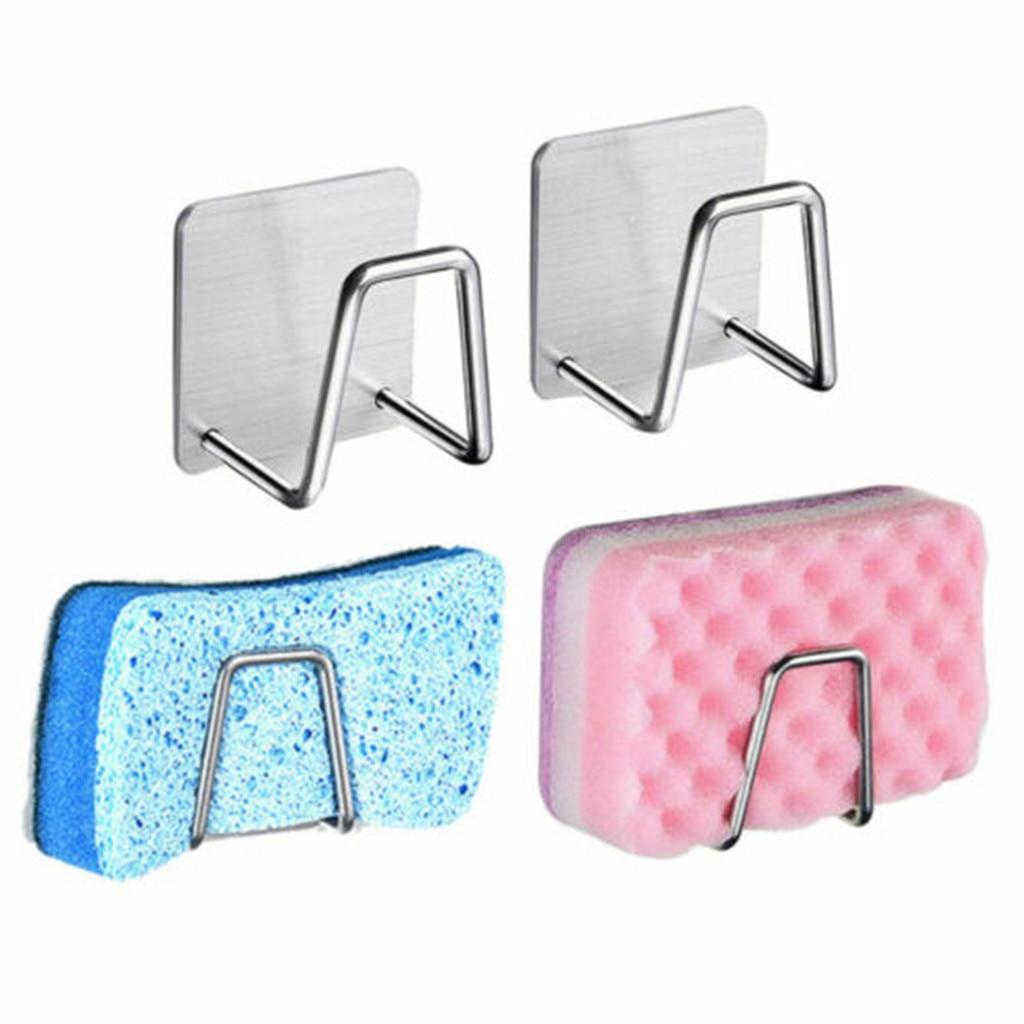 Stainless Steel Sink Hanger Sponge Holder Gadgets Kitchen Accessories Cleaning Dish Cloth Storage Box Brush Dishwashing Drainer