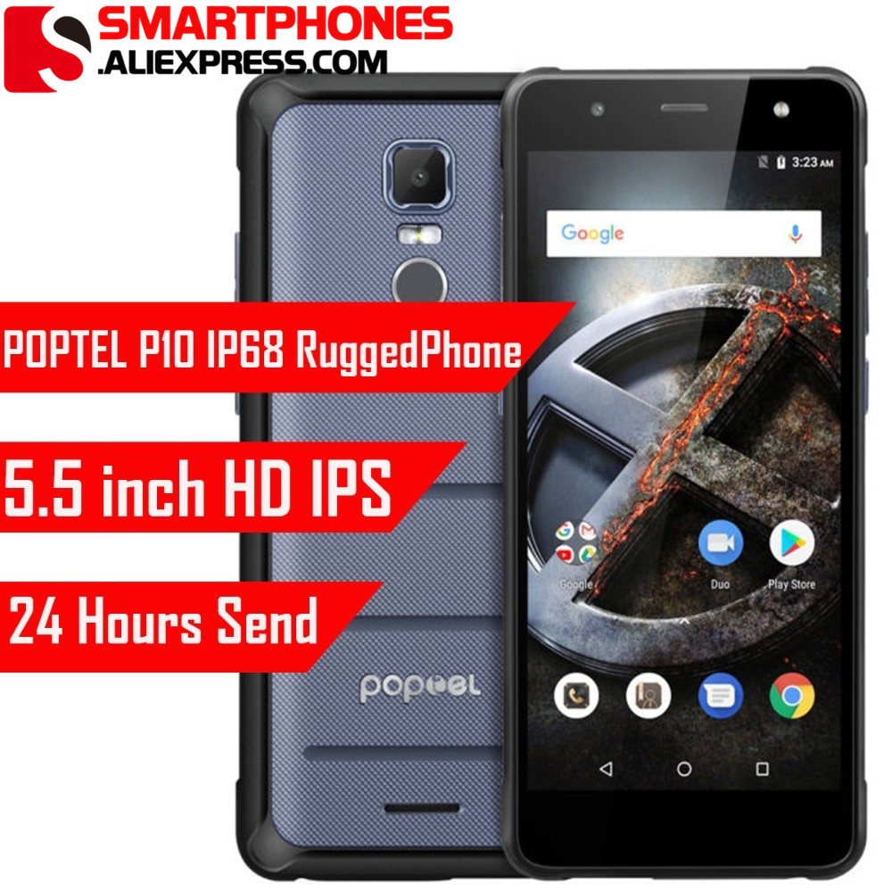 low priced 4ceac a513c US $179.99 |Original POPTEL P10 5.5'' HD Android 8.1 mobile phone IP68  waterproof Gorilla Glass 4GB RAM 64GB ROM 13mp+8mp NFC OTG OTA 4G-in Mobile  ...