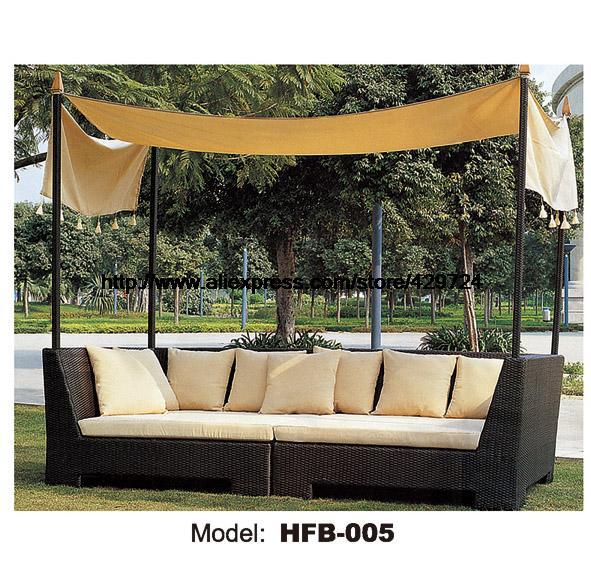 Открытый диван кровать из ротанга сад, лежа кровать шезлонг пляжный отдых диван из ротанга лежака терраса Защита от солнца стул, диван балко