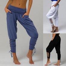 New Womens Yoga Pants Solid Color High Waist Pocket Bracelet Strap
