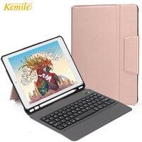Bluetooth Keyboard Case For iPad 2018 9.7 W Pencil Holder Ultra Slim Stand Leather TPU Cover For iPad 2017 Air 1/2 Keypad klavye