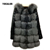 Faux Leather Coat Faux Fur Coat High Quality High Imitation Silver Fox Fur Coat PU Sleeves Warm Winter Overcoat Jacket Women