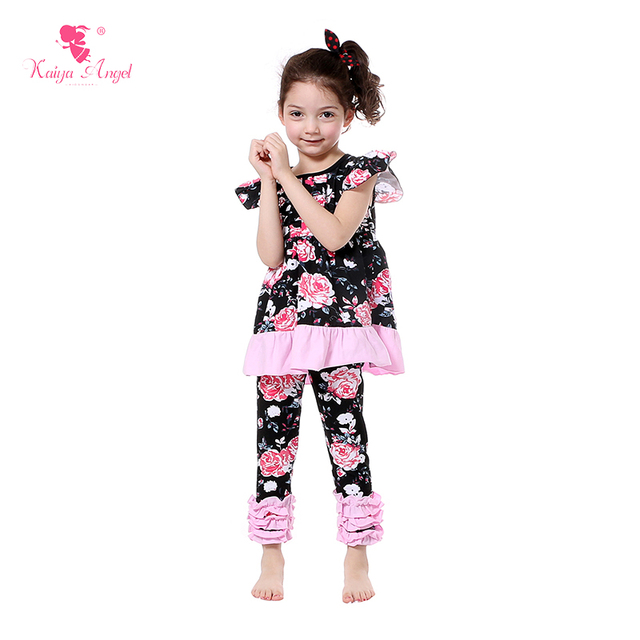 61a7ca948 2017 Summer Children Clothing Black Pink Floral Baby Girl Clothes Kids  Fashion Outfits Girl 2PCS Set Girls Boutique Outfit