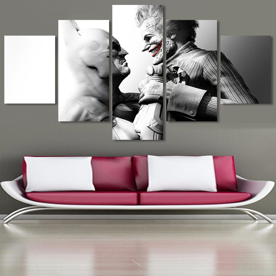Home decor paintings - Aliexpress Com Buy Movie Painting 5 Piece Canvas Modern Home Decor Hd Large Print Picture Wall Poster For Living Room Abstract Joker Unframed From