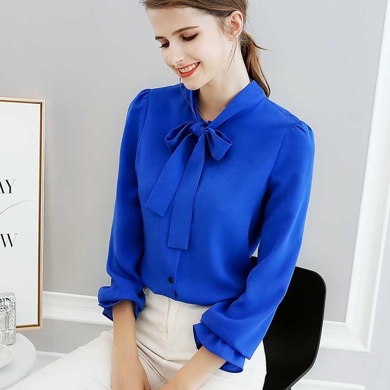 Women Fashion Ruffles Bow Tie Blue Chiffon Shirt OL Lady Femme Sweet Full Sleeve Solid Color Plus Size Top Blouse Blusa