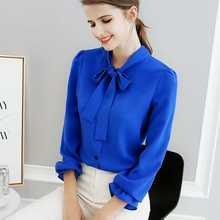 купить Women Fashion Ruffles Bow Tie Blue Chiffon Shirt OL Lady Femme Sweet Full Sleeve Solid Color Plus Size Top Blouse Blusa по цене 553.58 рублей