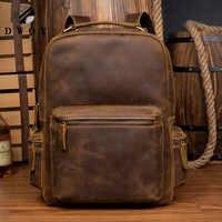 DWOY Genuine Leather Backpack Men Vintage Laptop Crazy Horse Leather backpacks for school bag mochilas travel backpack male bag