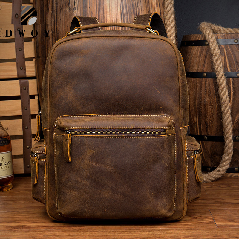 New Genuine Leather Backpack Men Vintage Laptop Crazy Horse Leather Backpacks For School Bag Mochilas Travel Backpack Male Bag