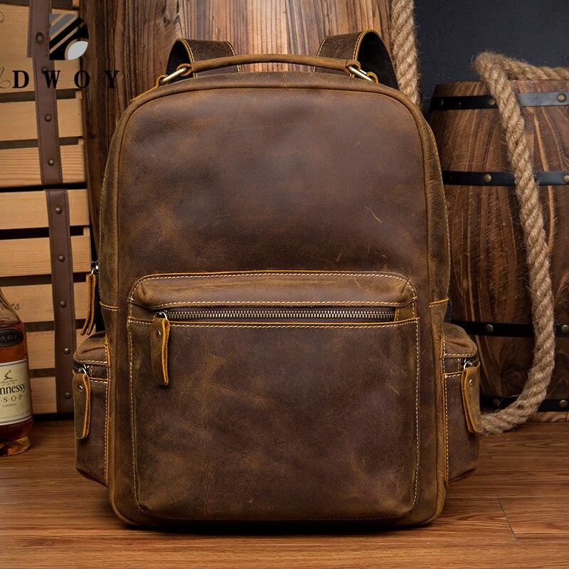 Novo couro genuíno mochila dos homens do vintage portátil crazy horse mochilas de couro para saco de escola mochila de viagem masculino
