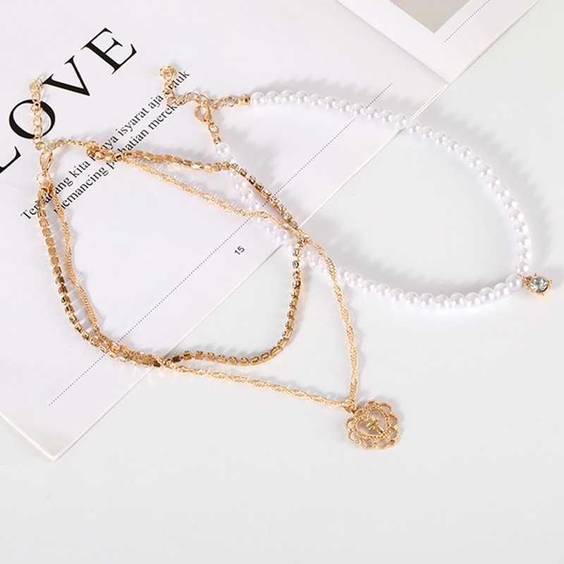 أنيق لون الذهب متعدد الطبقات مقلد بيرل المختنق قلادة للنساء الجوف القلب عبر قلادة قلادة المجوهرات