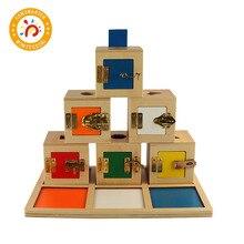 Montessori Materials Lock Box Wooden Toys Sensorial Education Baby