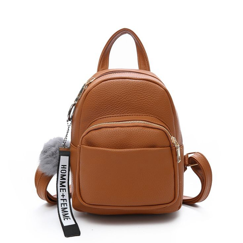 Kids & Baby's Bags Official Website Solid Soft Pu Leather Women Backpack For Girls Fashion Bear Pendant Bagpack Mochila Woman Back Pack Brown 2019