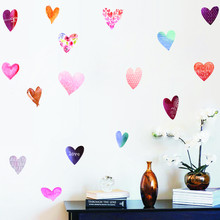16 pcs Love Heart Wall Stickers Heart-Shaped Pattern Vinyl Decals Nursery Art Decor Little Hearts