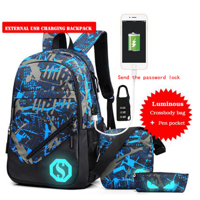 Senkey Style Men Backpack USB Charging Password Camouflage Luminous Designer Laptop Backpack Women School Bags For Teenagers