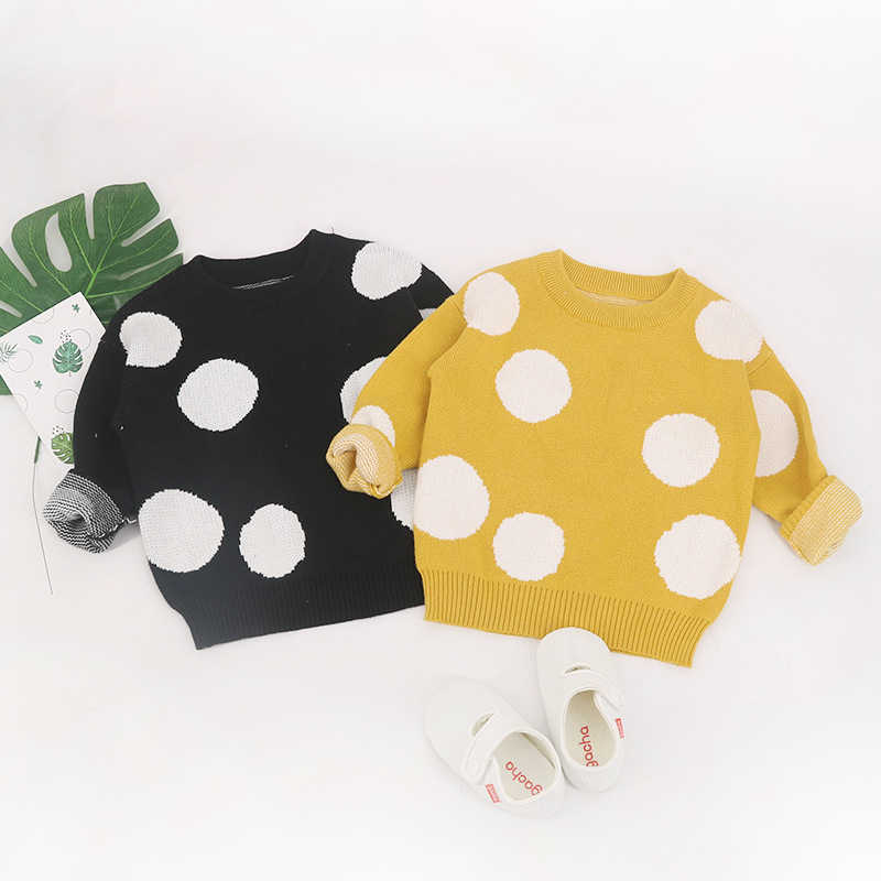 Модные детские свитера в горошек для мальчиков зимние девочек вязаный детский