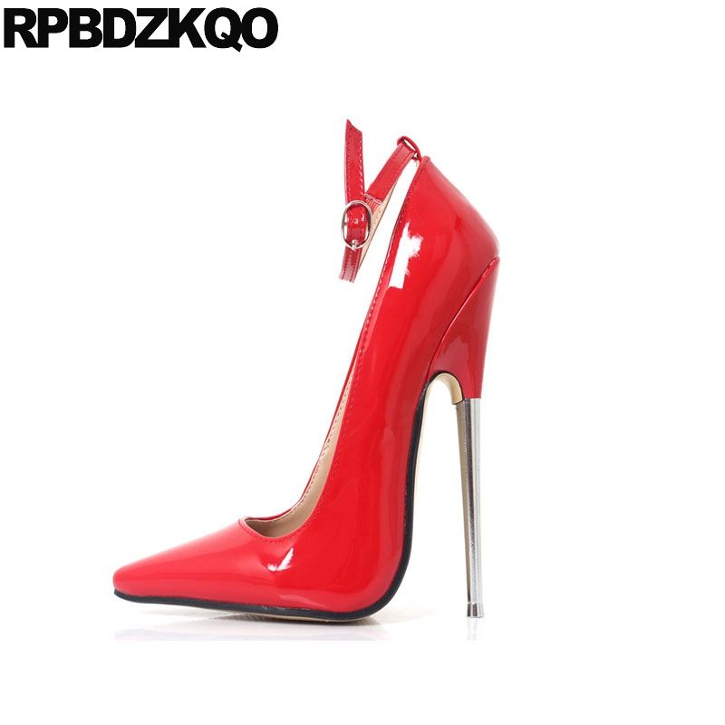 pumps shoes ladies ankle strap gothic plus size exotic dancer crossdresser 13 45 <font><b>12</b></font> 44 pointed toe 18cm <font><b>sexy</b></font> high heels stiletto image