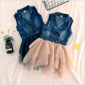 girls denim tulle patchwork dress Sleeveless jeans dress for carnival holiday party children's costumes for a girl 5 pcs/lot