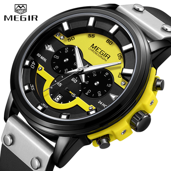 MEGIR Mens Watches Top Brand Luxury Big Dial Military Sport Watch Men Quartz Chronograph Army Waterproof Relogio Masculino