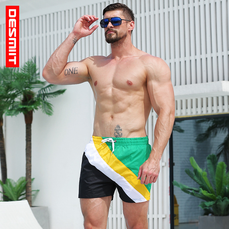 2019 Desmiit New color matching Men's bathing suit   board     shorts   quick dry surfing sport de bain swimwear liner beach   shorts