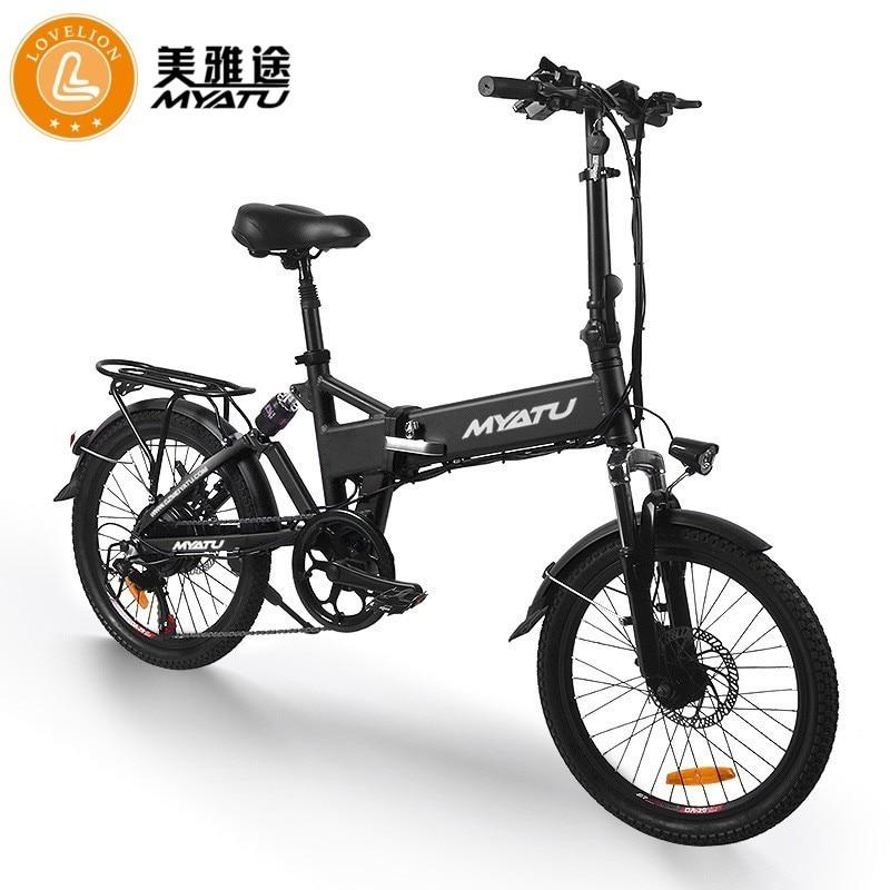 Myatu portátil dobrável vermelho poderoso adulto bicicleta de energia elétrica cinto 250w bateria lítio com pedal ebike lovelion ue
