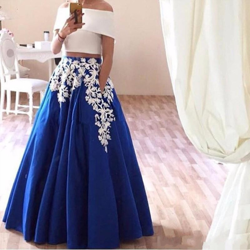 Two Pieces   Prom     Dresses   2019 Pocket A Line Royal Blue Skirt Crop Top Off the Shoulder White Appliques vestidos de festa elegant
