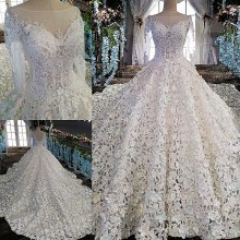 100% Real Photos Luxury Wedding Dress For Bride Cut-Out Beaded Ball Gown Full Sleeves Lace Bridal Gown Vestidos De Noivas