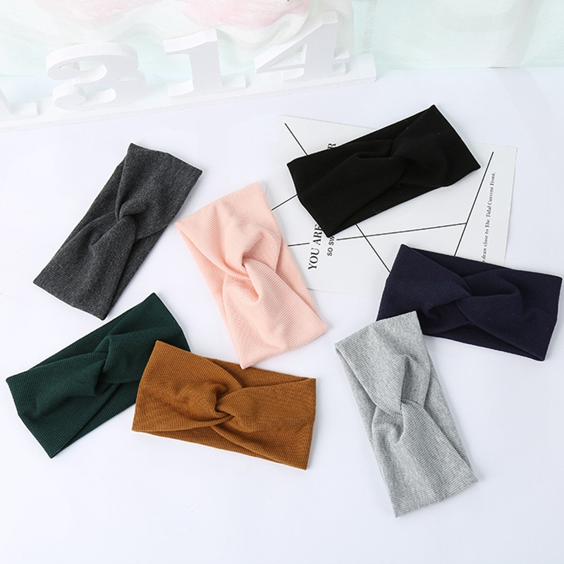 Girl's Accessories Women Plain Knitted Cross Headband Turban Girls Fashion Twisted Two Layers Elastic Fabric Hairband Hair Accessories Headwrap Large Assortment