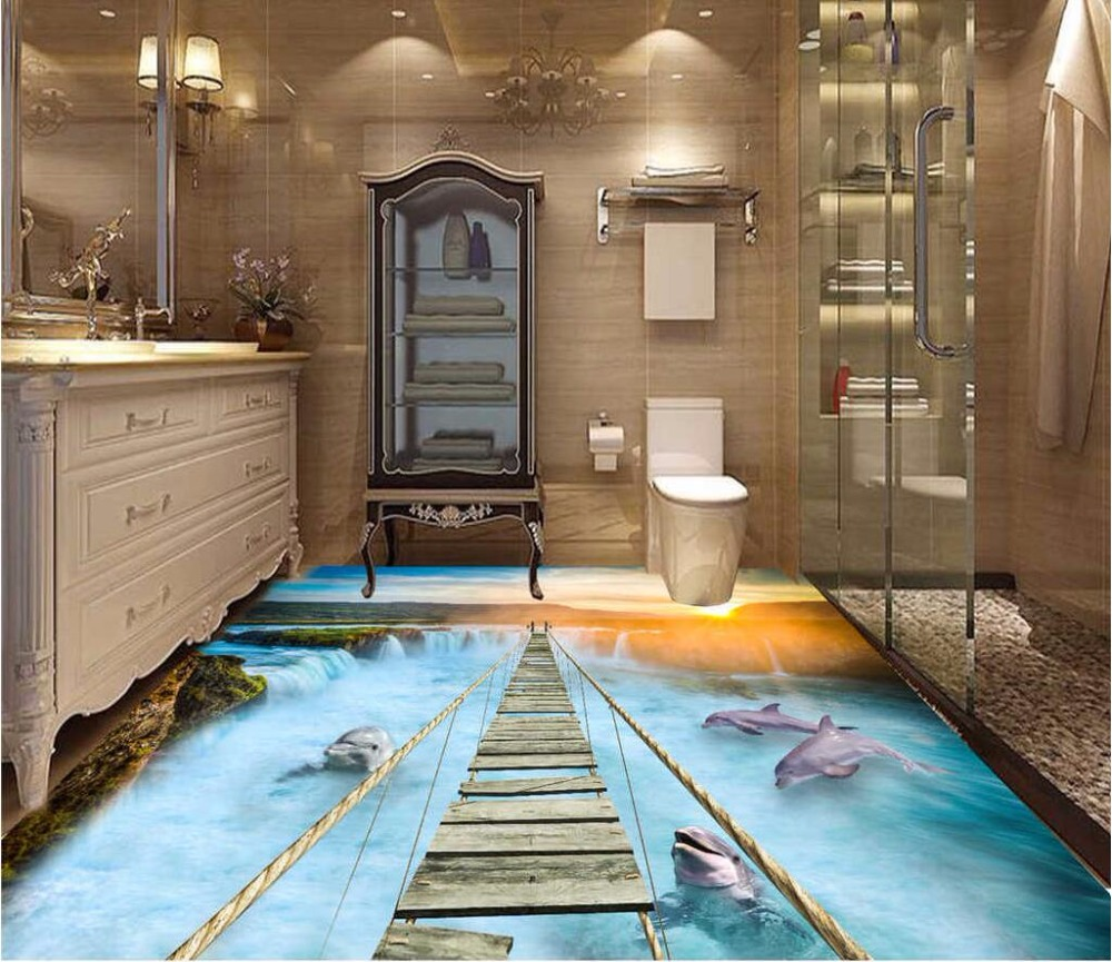 Custom mural 3d flooring picture pvc self adhesive wallpaper Dolphin falls bridge home decor painting 3d wall murals wallpaper custom mural 3d flooring picture pvc self adhesive european style marble texture parquet decor painting 3d wall murals wallpaper