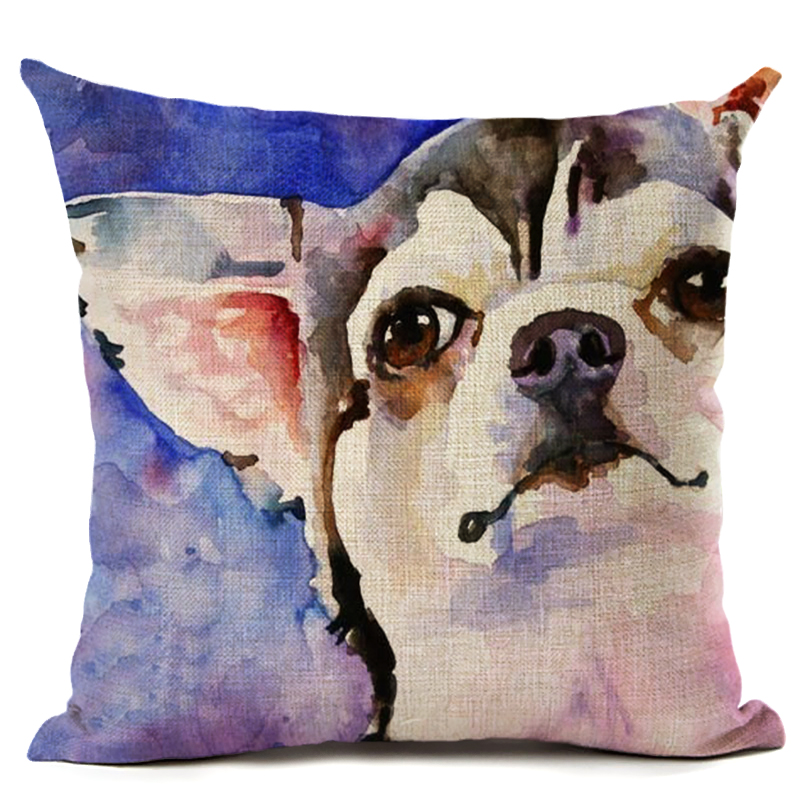 Original Oil Painting Pig Dog Linen Pillow Cushion Cover Home Car Couch  Decorative Pillow Case 45x45cm Almofada Capa Cojine In Cushion Cover From  Home ...