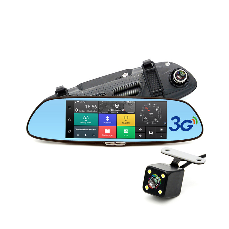 7 inch 3G Car Camera DVR GPS Bluetooth Dual Lens Rearview Mirror Video Recorder Full HD 1080P Automobile DVR Mirror Dash cam