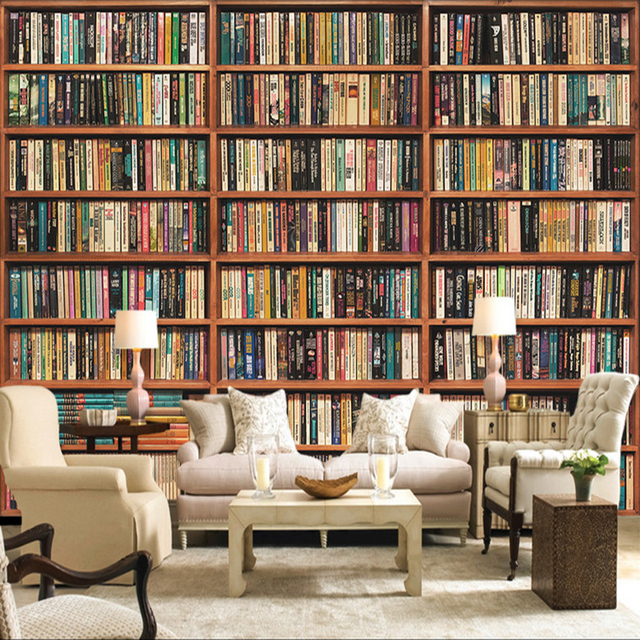 Photo wallpaper 3d stereo bookshelf mural living room for Bookshelf mural wallpaper