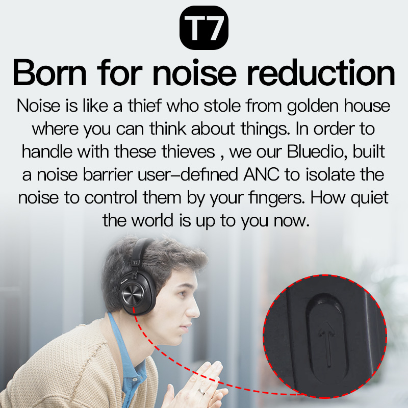 Bluedio T7 casque Bluetooth sans fil 2019 nouveau multifonction HIFI stéréo actif réduction du bruit reconnaissance du visage casque de musique - 2