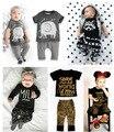 2 PCS conjuntos de roupas de bebê menina crianças primavera roupas de verão define raposa coelho elefante Leopardo T-shirt crianças roupas sets 11 estilos
