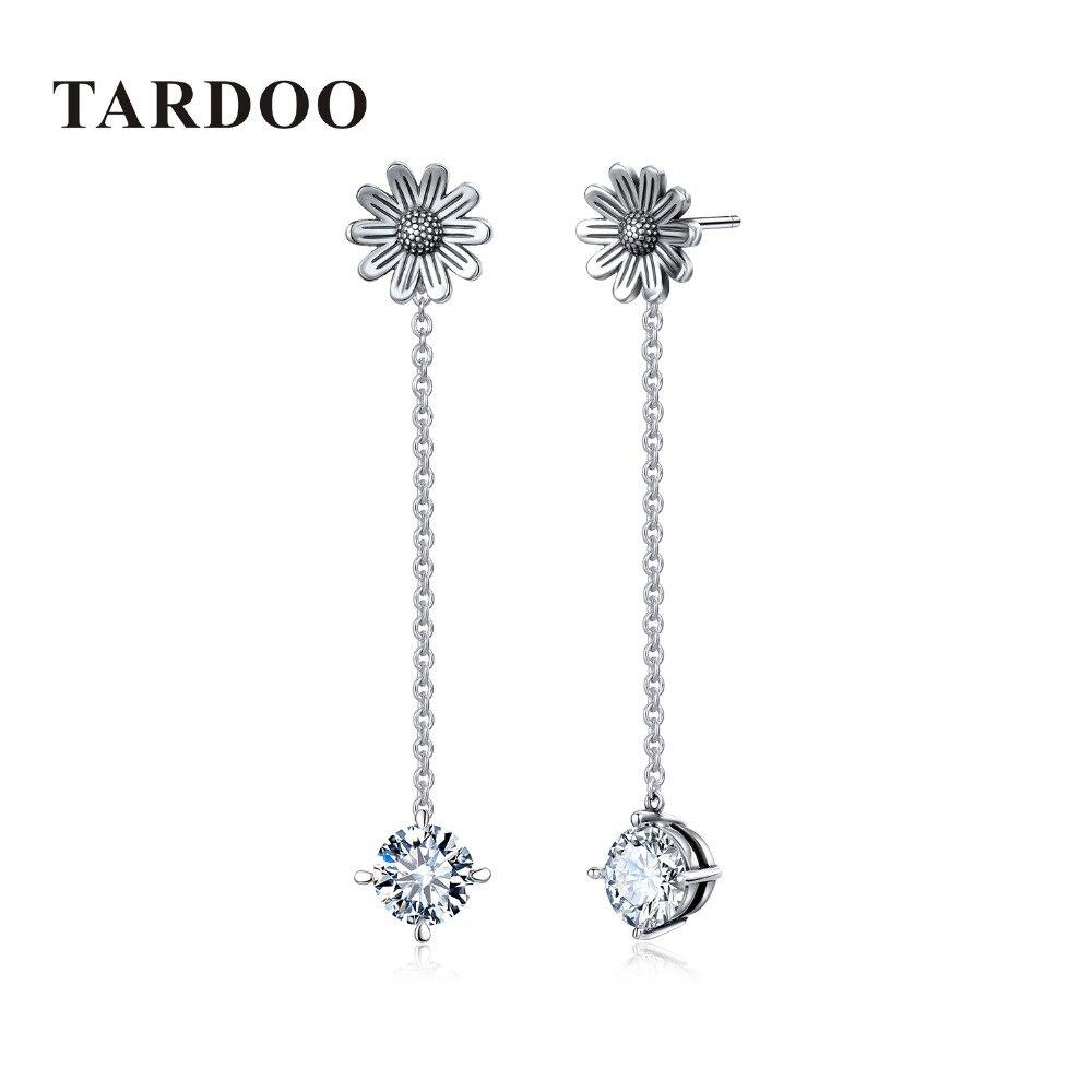 Tardoo 925 Sterling Silver Flower Pendant Earrings Simple Long Chain Dangle Drop Earrings Women Trendy White Zircon Fine Jewelry цена 2017