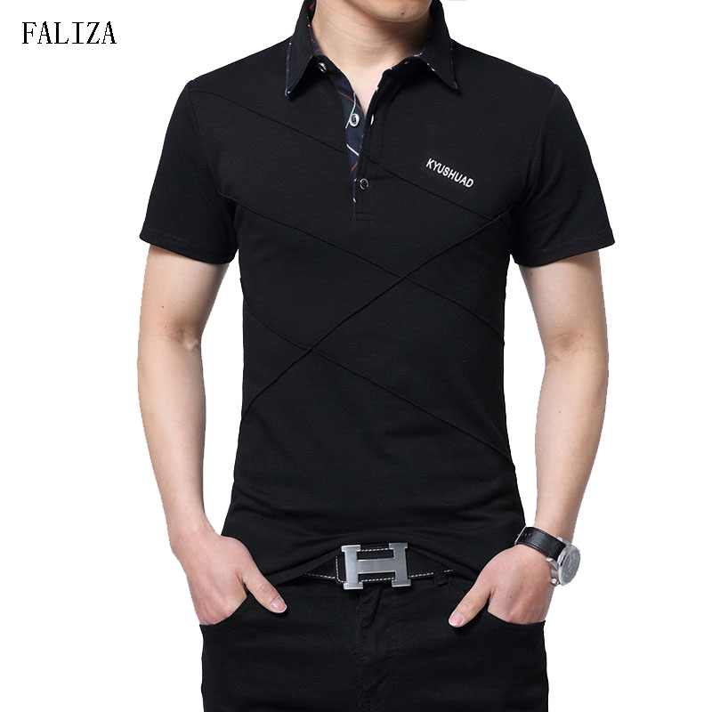 FALIZA New 2018 Brand   Polos   Shirt Men Cotton Fashion Short Sleeve Camisas   Polos   Casual Stand Collar Male Shirt 5XL TX101