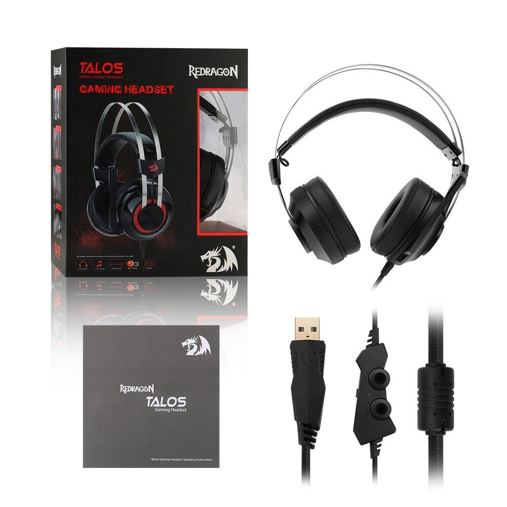 Redragon 7.1 canal virtuel USB Surround son casque de jeu casque filaire gamer respiration rétro-éclairage écouteur Microphone - 6