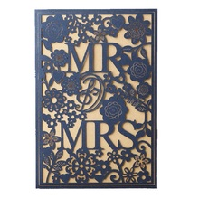 50pcs MR & MRS Right Blue Wedding Invitation cards Laser Cut Hollow Lace Invites Engagement Card invitations