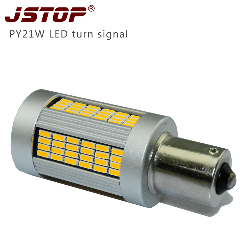 JSTOP Super bright led car canbus 1156 12V Yellow P21W high quality 1000LM light BA15S auto exterior lamps PY21W turning bulbs браслет power balance бкм 9662