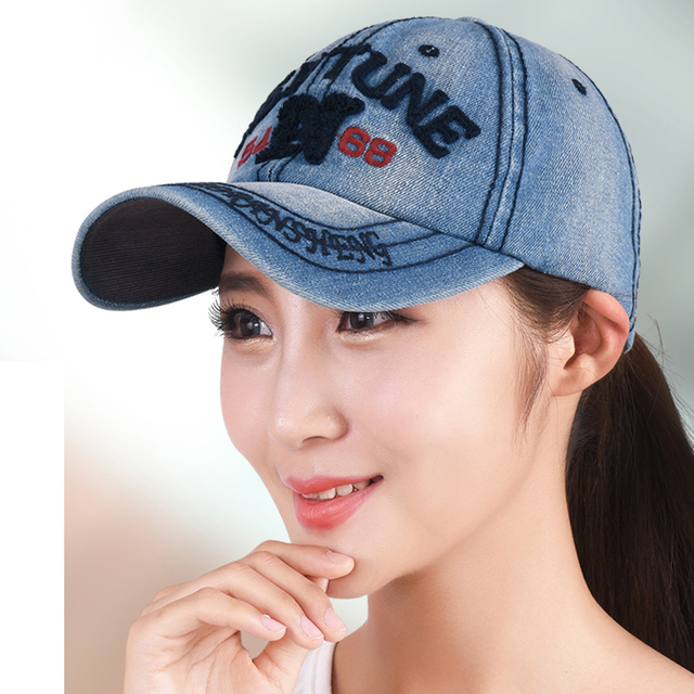 Denim letter women baseball cap fashion casual women hat cap denim lady  riding run sun hats adjustable 56-60cm 2eea8a42b42