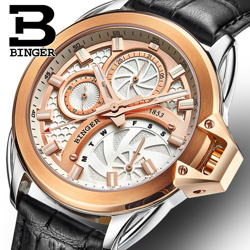 Switzerland watches men luxury brand Wristwatches BINGER Quartz men's watch leather strap Chronograph Diver glowwatch B6012-6 switzerland binger men s watches luxury brand quartz waterproof leather strap clock chronograph stop watch wristwatches b9202 8