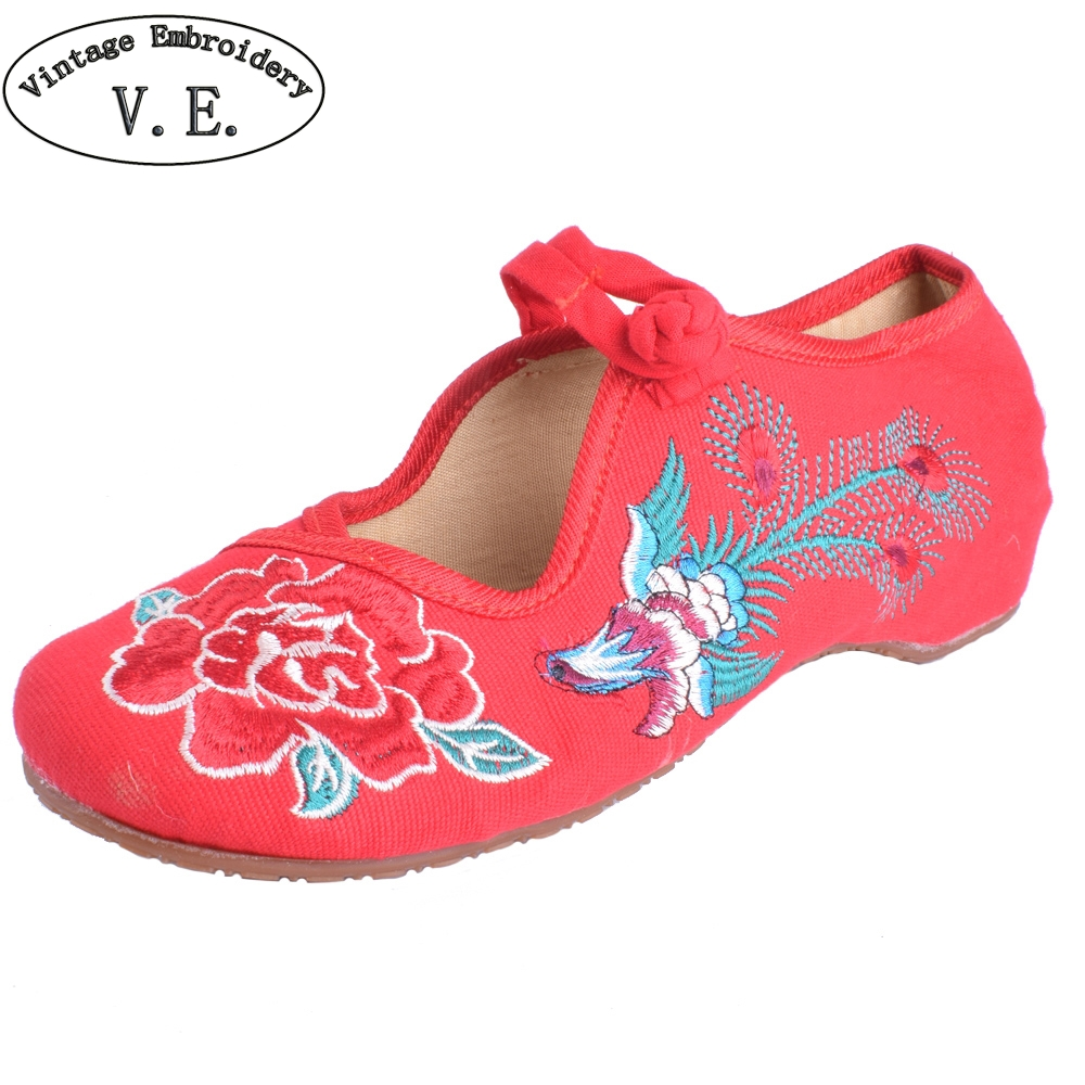 Women Flats Shoes Old Peking Mary Jane Phoenix Floral Embroidery Soft Sole Zapatos De Mujer Ballet Flat Plus Size 41 chinese women flats shoes flowers casual embroidery soft sole cloth dance ballet flat shoes woman breathable zapatos mujer