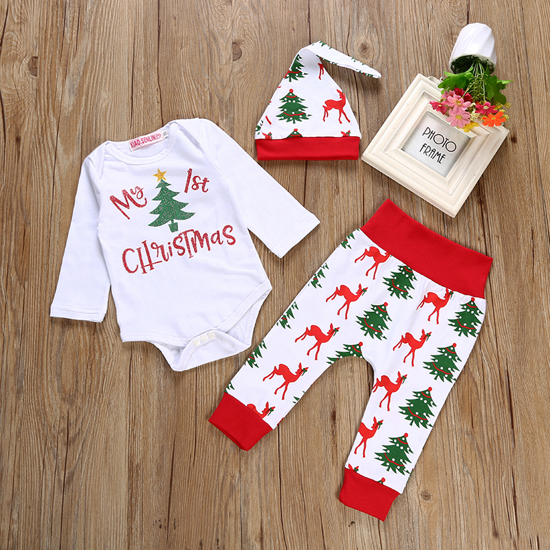 2019 Christmas Newborn Baby Boys Girls Clothes Sets My 1st Christmas Romper+Deer Pants +Hat Set  3 Pcs sets Baby girls clothing