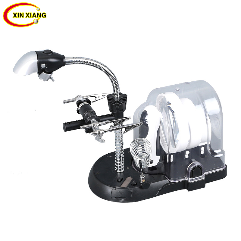 Desktop Welding Magnifier With Led Light 5X 6 LED Magnifier Lamp 2.5X 16X Magnifying Glass Soldering Phone Repair Table Loupe 2x 5x desktop magnifying glass with wireless led desk lamp table light for reading lamp clamp folding magnifier loupe