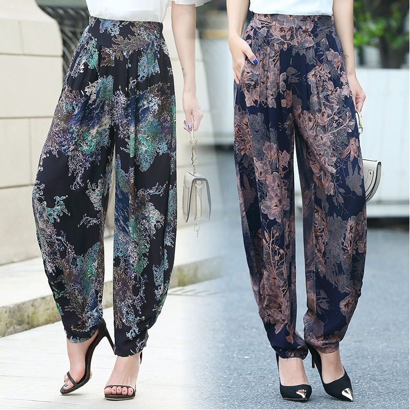 Summer Thin section Women Lantern   pants   New printing Wild High waist   Wide     leg     pants   Loose Large yard Harem   pants   Elastic Waist