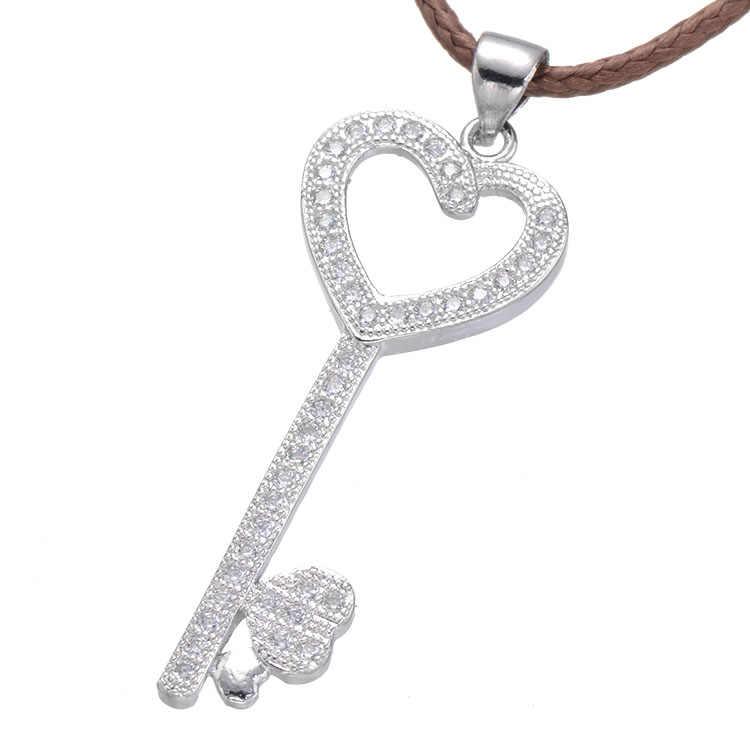 Diseño clásico corazón clave Micro Pave Cubic Zircon encanto par colgantes de joyas de collares para mejor regalos de San Valentín