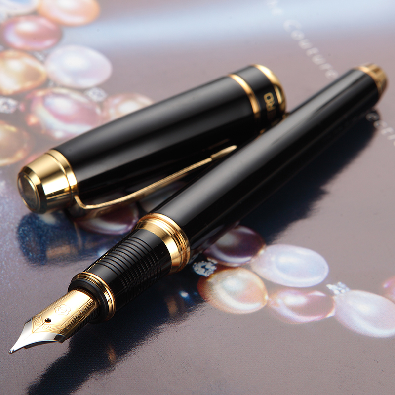 0.5mm Fountain Pen Gold Clip Black Grey Business Gift Pens with High-end Gift Box School Office Supplies Writing Stationery