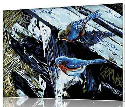 16 x20 TWO DIRDS DIGITAL OIL PAINTING DIY PAINT BY NUMBER ON CANVAS ON FRAME