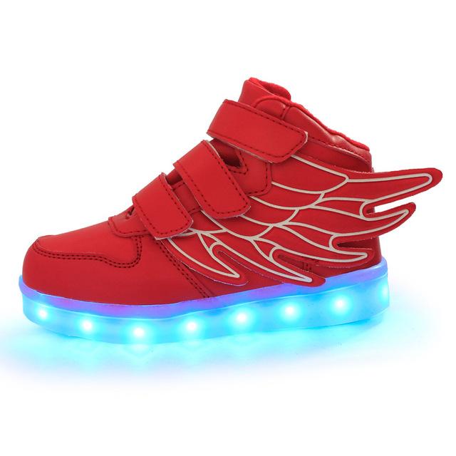 DIODO EMISSOR de Luz Caçoa As Sapatilhas Sapatos de Desporto Respirável Sapatos Sneakers Luminosas Meninas Meninos USB Asa Menina Sapatos Loja Online
