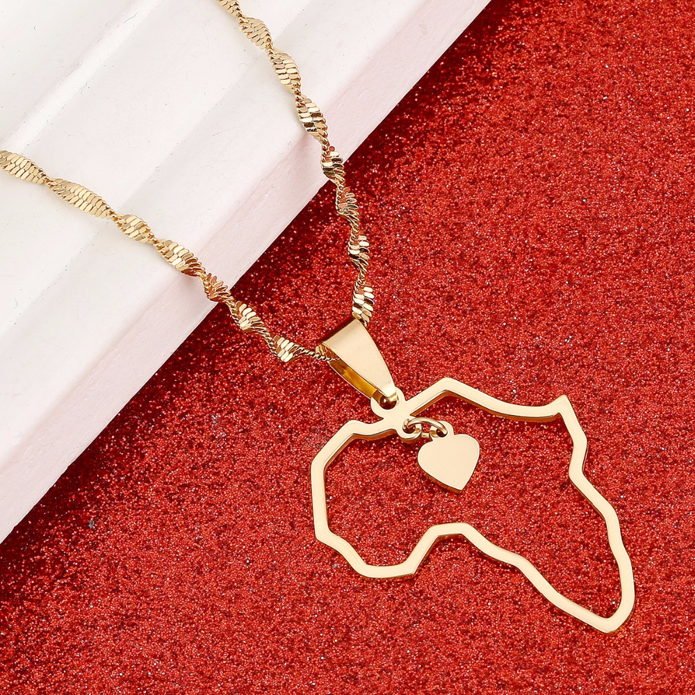 Africa Map Pendant Necklaces Heart African of Maps Jewelry Charms Gold Color Heart Map